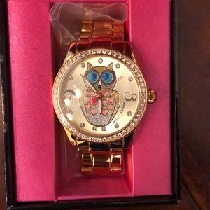 Betsey Johnson Gold Glitter Owl Watch